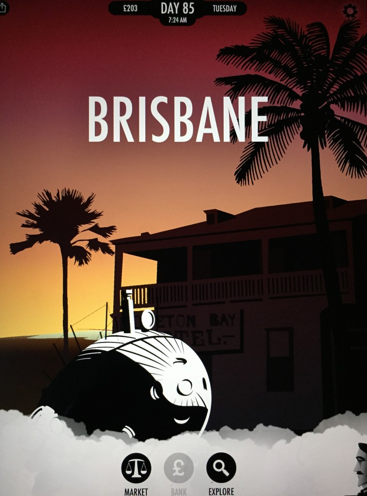 Brisbane landing screen 80 Days